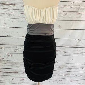 Strapless ruched dress black white grey